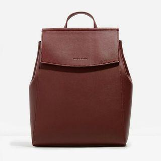 Charles and Keith Two-Way Backpack, Rare Burgundy Red Colour, New and Unused, OOP, Large Size