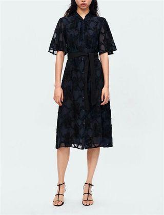 Blue lace buttoned dress