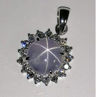 (Custom Made from Gem to Jewelry) Natural Srilankan Grey Star Sapphire with VVS/E Diamond W Gold Pendant