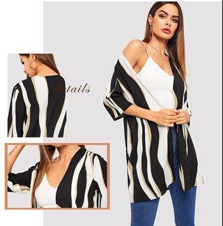 P2mart ✌🏼✔Pre order stock ✔3/4 Sleeve Striped Kimono Boho Blouse