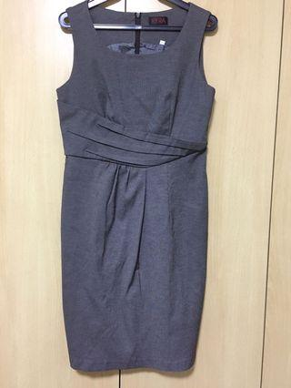 🚚 KYRA Dark Grey Office Dress