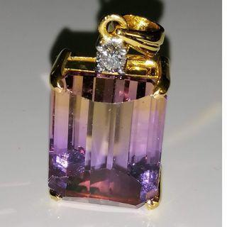 (Custom Made from Gem to Jewelry) Natural Ametrine w 916 Gold / 0.10 Diamond E/VVS Precision Craftmanship.