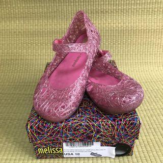 PL LN Mini Melissa Campana Zigzag Pink / Glitter Silver Shoes US10 (2018)