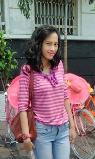 Stripe top with bow