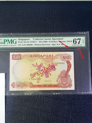 Singapore Orchid $10 SPEClMEN WlThouT SEAL PMG Only one piece 67superb Gem unc.