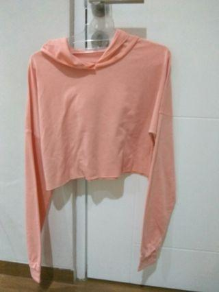 Crop hoodie baby pink
