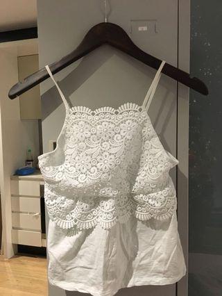 Topshop White camisole cute vest top cami 6-8