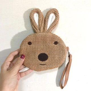 [全新] 編織感可愛兔子手提零錢包