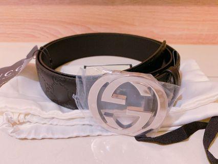🚚 Gucci 雙G logo 黑色牛皮壓紋 皮帶100公分 全新正品
