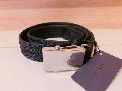 🚚 Prada 銀牌logo 黑色帆布 皮帶 90-95公分 全新正品