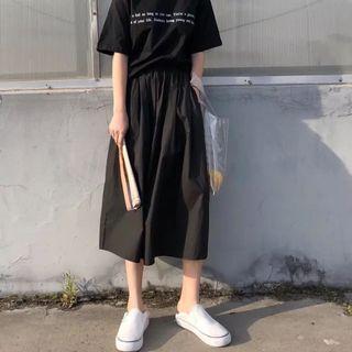 黑色 半截傘裙