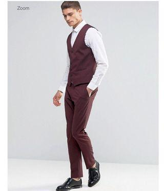Homme Trousers With Stretch In Slim Fit Burgundy Men