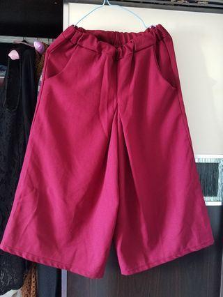 棗紅色七分闊腳褲