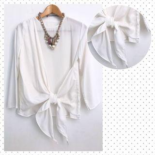 White Ribbon Blouse Top Putih Hijaber