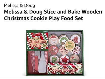 Melissa & Doug  Wooden Slice Bake Christmas Cookie Play Set $30