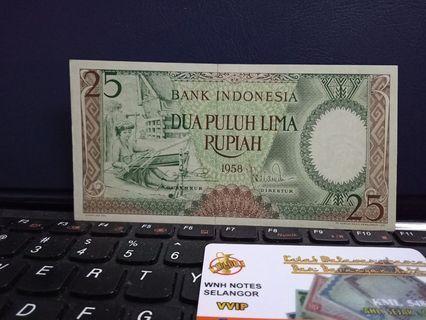 Duit Lama Indonesia 25 Rupiah 1958 🇮🇩 (April Sale)