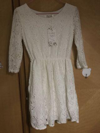 白色lace裙蕾絲裙中長