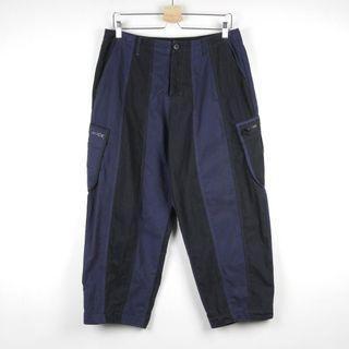 【GGM】PROS BY CH STRIPE POCKET PANTS 闊腿西瓜版型復古側口袋拼接黑藍條紋工裝直筒九分褲