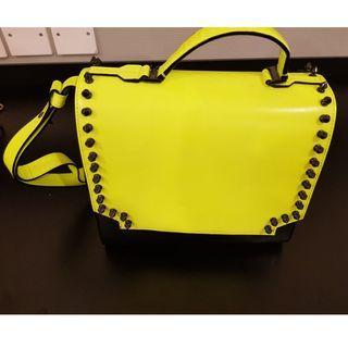 MCM Shocking Yellow Stud Ladies hand Bag