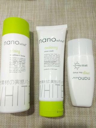 Nano White cleanser, Sunscreen & toner