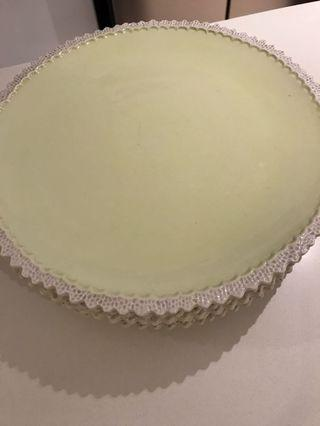 Pastel yellow ceramic dinner plate