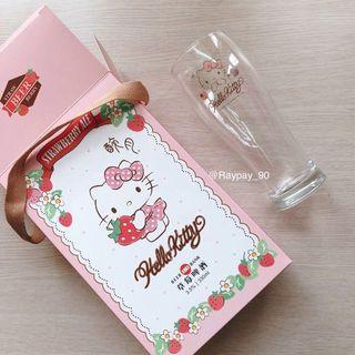 Hello Kitty 凱蒂貓透明玻璃杯 草莓季台灣醉月啤酒聯名