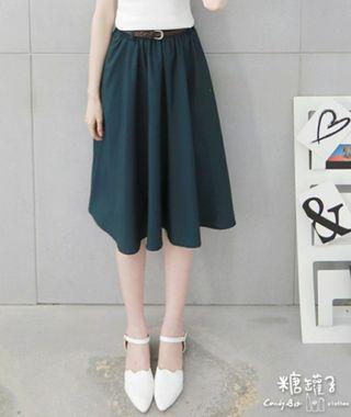 🚚 縮腰雪紡裙-深綠