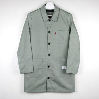 【GGM】日本BEAMS購入 DIVERSION FRENCH WORK COAT 淺灰綠人織紋多口袋長版法國工作外套