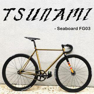 Tsunami fixed gear full bike/frameset- Seaboard FG03 - Triple-butted steel tube, excellent performance, High-level steel frame. Light weight.