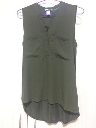 H&M olive green sleeveless blouse top
