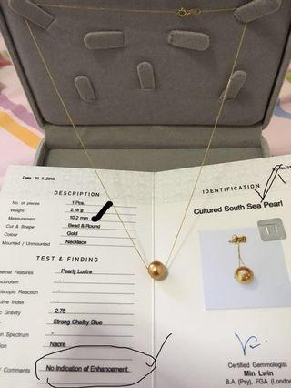 Gold Color South Sea Pearl with 18k solid gold ,10.2mm- Burma Origin