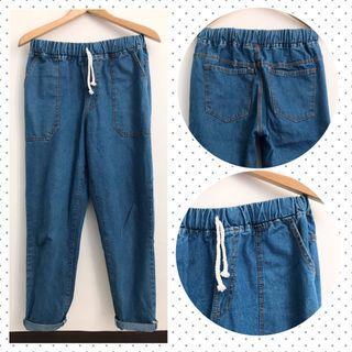 Celana Jeans Jogger Pants Denim Blue