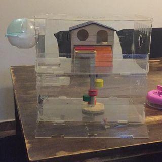Hamster/ gerbil acrylic cage + toys
