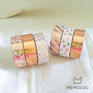 Set of 3 Rose Gold Elegant Pattern Decorative Washi Tape