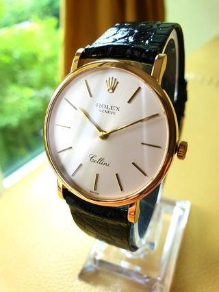 Rolex Cellini 18k Gold Mens Leather 5112
