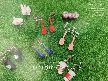 文青結他 Guitar earrings ear clips耳夾