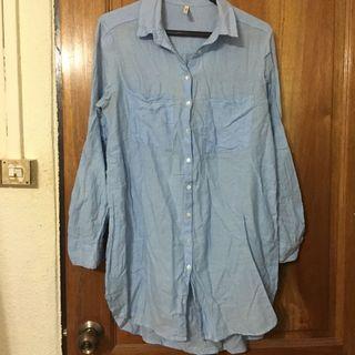 Blue midi shirt (soft denim like)