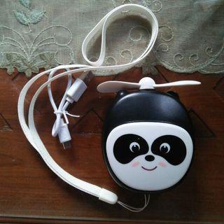 Buy 1 get 1 free Kipas portable + powerbank Miniso panda free kabel data