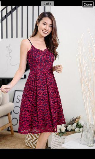 Darling valentine midi red navy lace dress sweetheart