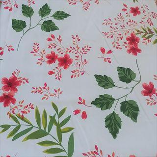 Red Flowers Floral Linen Table Cloth Cover