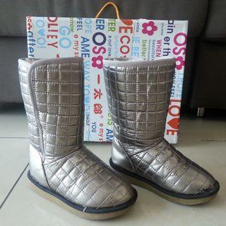 60% OFF: Kid Winter Snow Boots Shoe (Silver) - Size: EU-31 / US-13 / UK-12