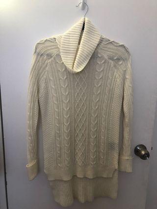 White cowl neck sweater