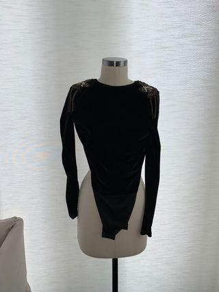ZARA black velvet bodysuit with shoulder details (SMALL)