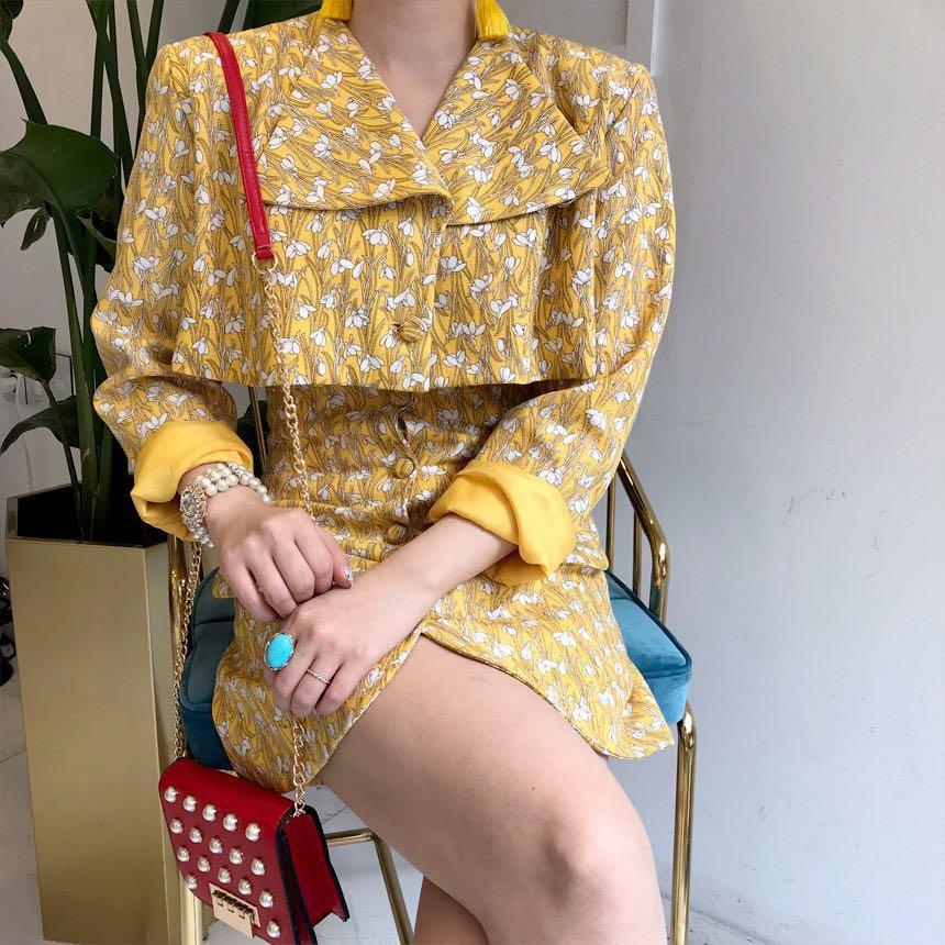 ✨復古短版高腰排扣套裝窄裙~共2色