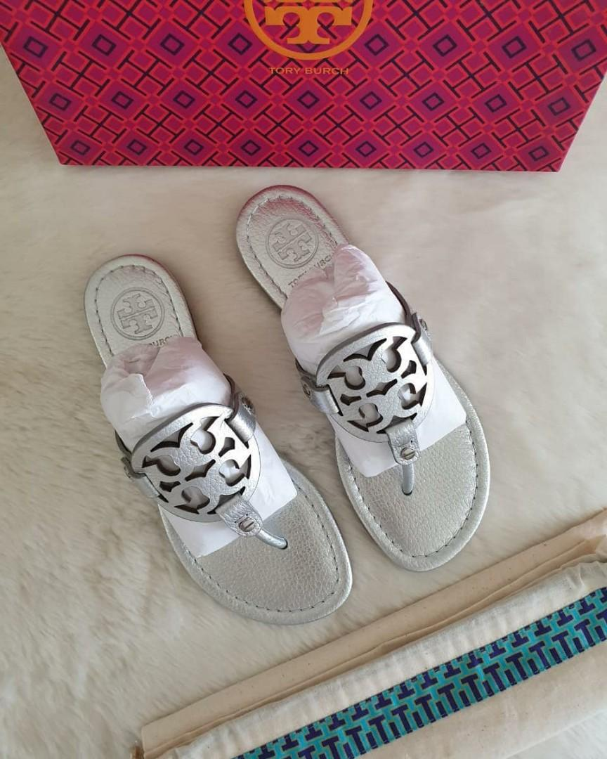 🍒 *FAST SALE* - BNIB Tory Burch Miller Thong Silver Leather size 6M insole 24 cm
