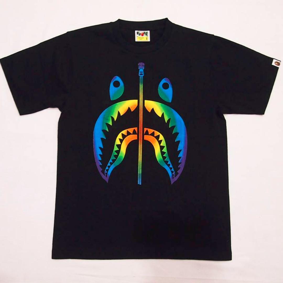 eb8575af3b863 Bape A Bathing Ape Rainbow Shark Men's Black Tee, Men's Fashion ...