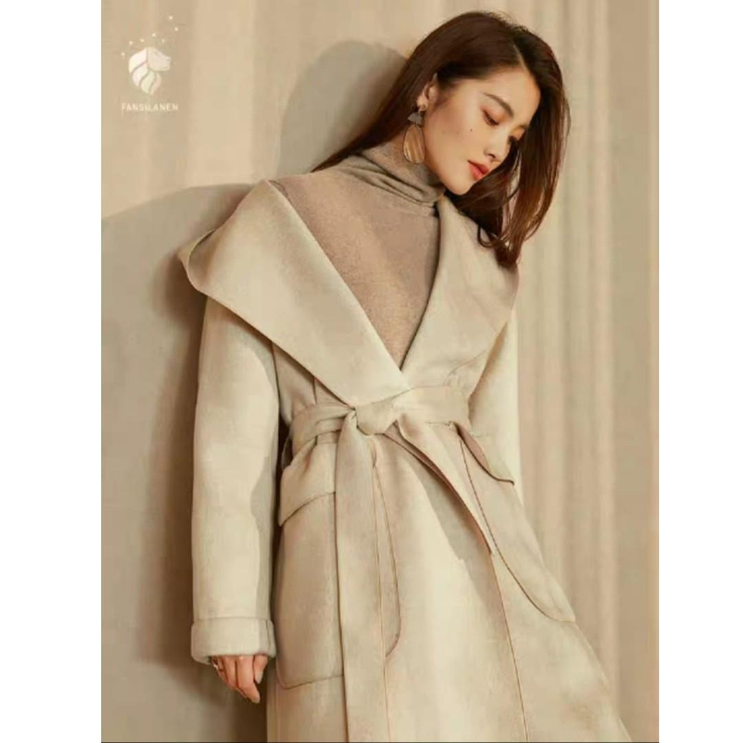 Belted Wool Wrap Coat - Camel Colour