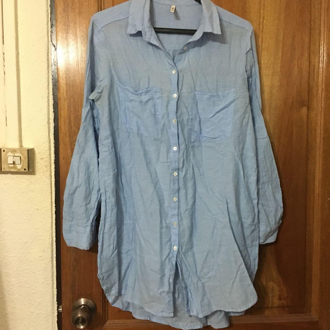 Blue midi shirt (soft denim like)