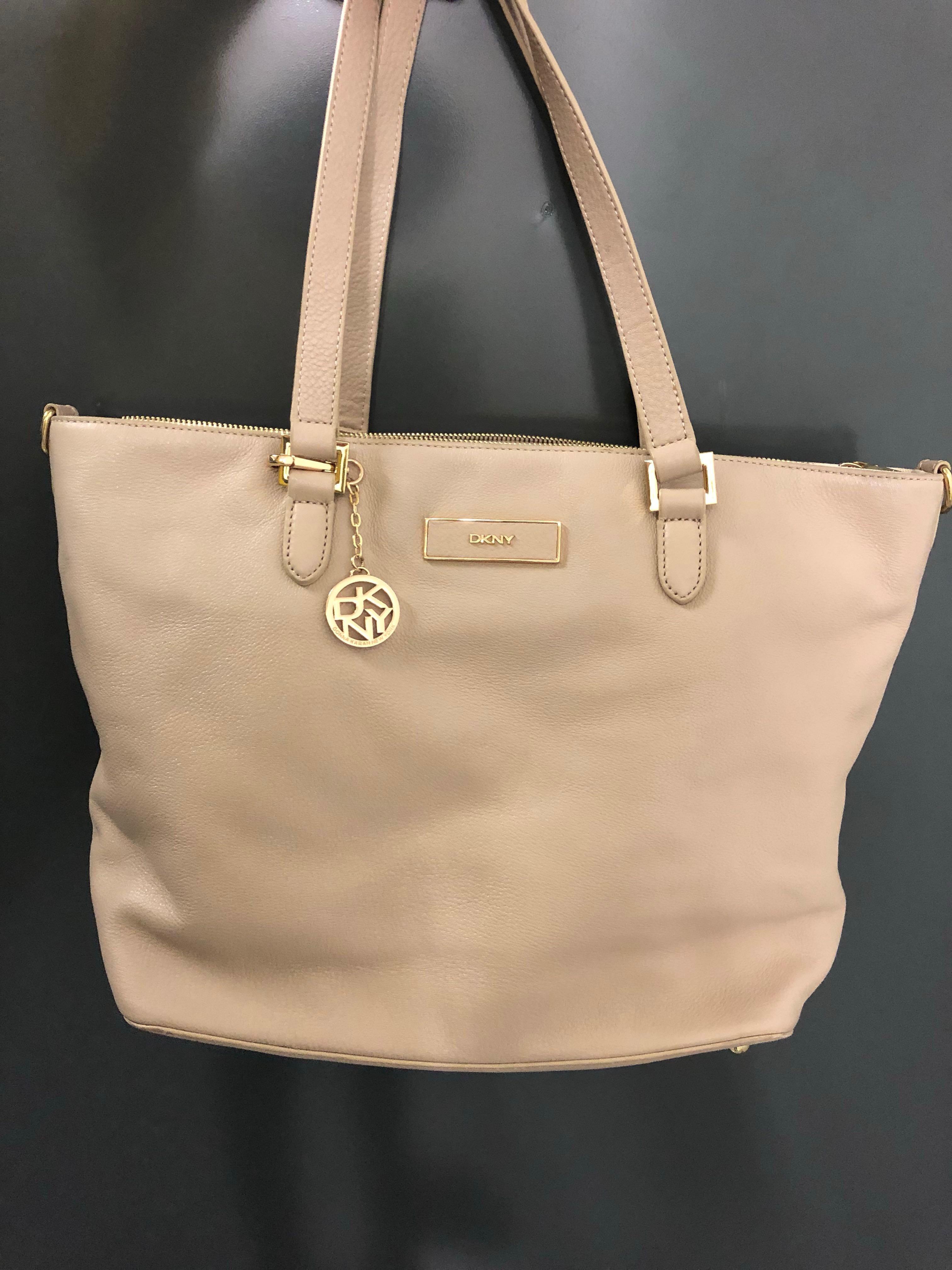 DKNY White/Cream/Beige handbag with chain detail