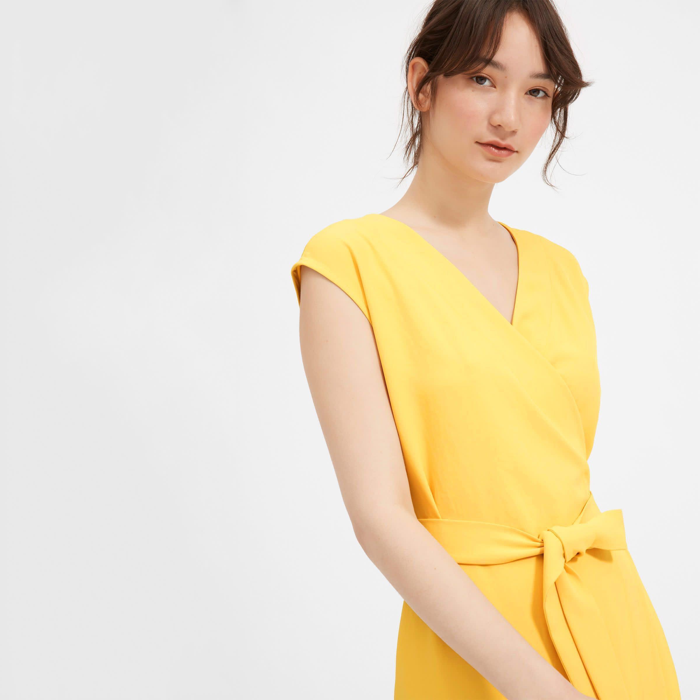 e7bf84bc439 Everlane GoWeave Yellow Mini Wrap Dress BNWT